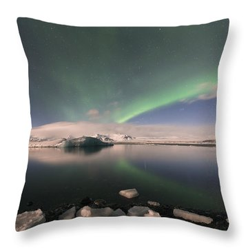 Throw Pillow featuring the photograph Aurora Borealis And Reflection by Wanda Krack