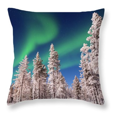 Throw Pillow featuring the photograph Aurora Borealis by Delphimages Photo Creations