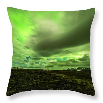 Aurora Borealis Over A Frozen Lake Throw Pillow