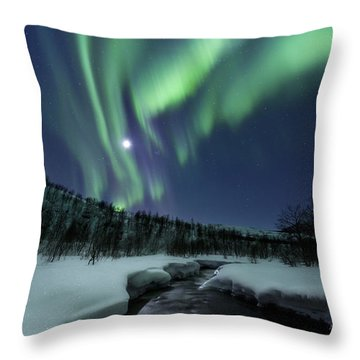 Throw Pillow featuring the photograph Aurora Borealis Over Blafjellelva River by Arild Heitmann