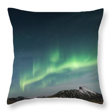 Throw Pillow featuring the photograph Aurora Borealis Over Iceland by Sandra Bronstein