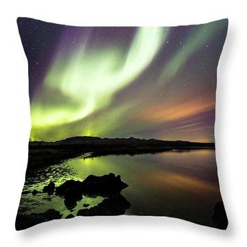 Aurora Borealis Over Thinvellir Throw Pillow