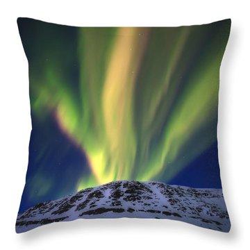 Aurora Borealis Over Toviktinden Throw Pillow by Arild Heitmann