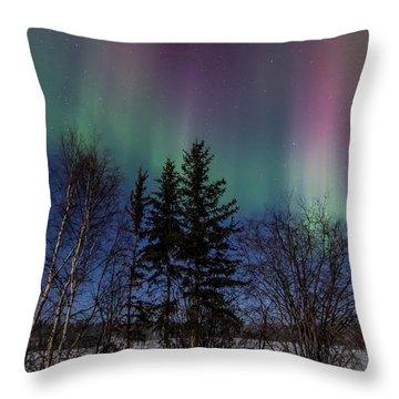 Aurora Curtains Throw Pillow