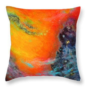 Fantasies In Space Series Painting. Aurora Galaxy Throw Pillow