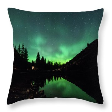 Aurora On Moraine Lake Throw Pillow