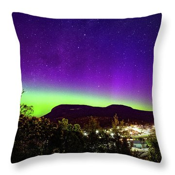 Throw Pillow featuring the photograph Aurora Over Mt Wellington, Hobart by Odille Esmonde-Morgan