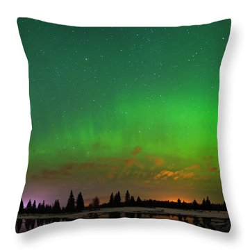 Aurora Over Pond Panorama Throw Pillow