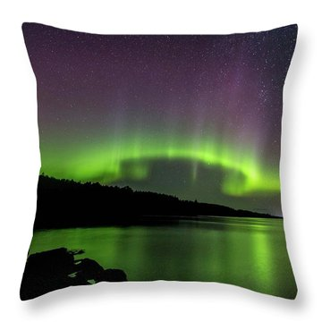 Throw Pillow featuring the photograph Aurora Over Superior 1 by Paul Schultz