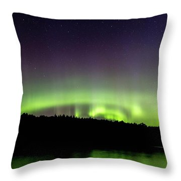 Throw Pillow featuring the photograph Aurora Over Superior 4 by Paul Schultz