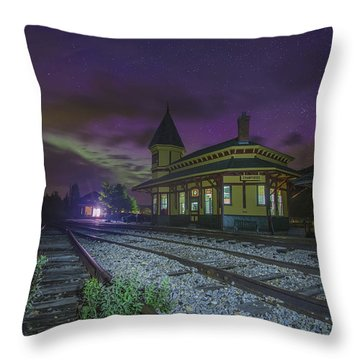 Aurora Over The Crawford Notch Depot Throw Pillow