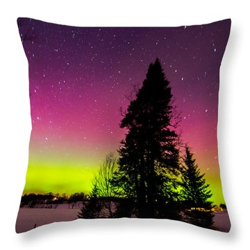 Aurora With Spruce Tree Throw Pillow