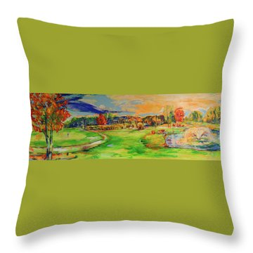 Aussicht Auf Das Clubhaus Vom Fairway   View Of The Clubhouse From The Fairway Throw Pillow