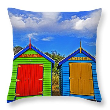 Aussie Beach Boxes Throw Pillow by Dennis Cox WorldViews