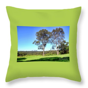 Throw Pillow featuring the photograph Aussie Gum Tree Landscape By Kaye Menner by Kaye Menner