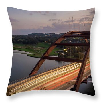 Austin 360 Bridge At Night Throw Pillow