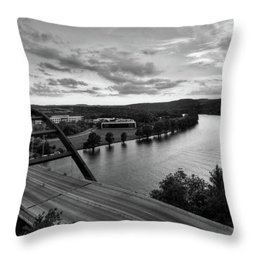 Austin 360 Pennybacker Bridge Sunset Throw Pillow