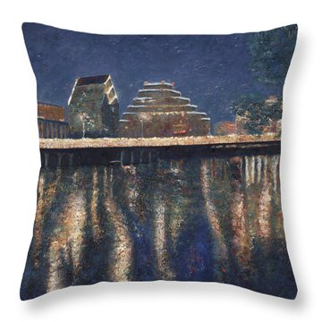 Austin At Night Throw Pillow by Felipe Adan Lerma