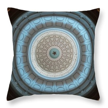 Austin Capitol Dome In Gray And Blue Throw Pillow