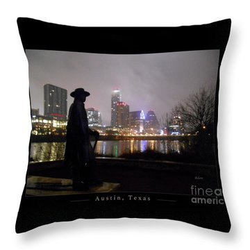 Austin Hike And Bike Trail - Iconic Austin Statue Stevie Ray Vaughn - One Greeting Card Poster Throw Pillow by Felipe Adan Lerma