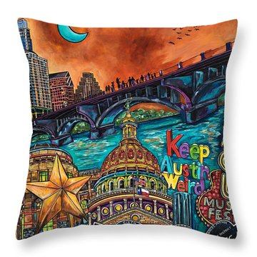 Austin Keeping It Weird Throw Pillow by Patti Schermerhorn