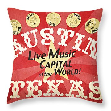 Austin Live Music Throw Pillow