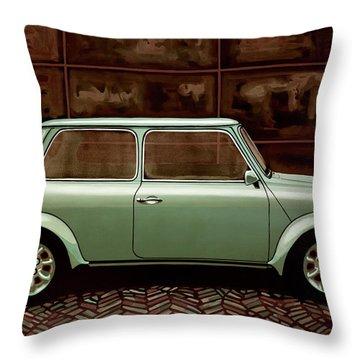 Austin Mini Cooper Mixed Media Throw Pillow