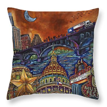 Austin Montage Throw Pillow