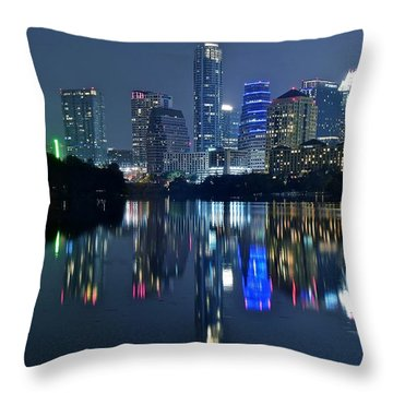 Austin Night Reflection Throw Pillow