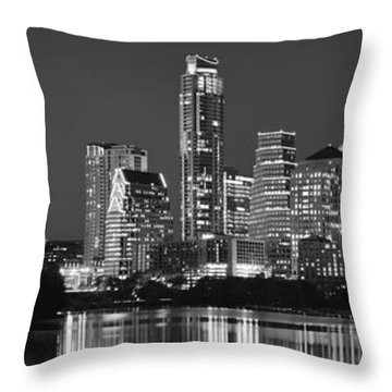 Austin Skyline At Night Black And White Bw Panorama Texas Throw Pillow