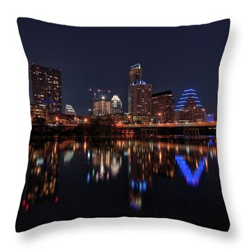 Austin Skyline At Night Throw Pillow