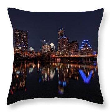 Austin Skyline At Night Throw Pillow