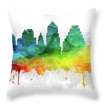 Austin Skyline Mmr-ustxau05 Throw Pillow by Aged Pixel