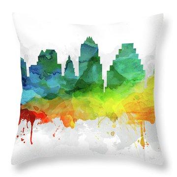 Austin Skyline Mmr-ustxau05 Throw Pillow by Aged Pixel