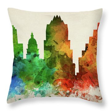 Austin Skyline Panorama Ustxau-pa03 Throw Pillow by Aged Pixel