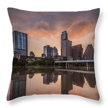 Austin Skyline Sunrise Reflection Throw Pillow