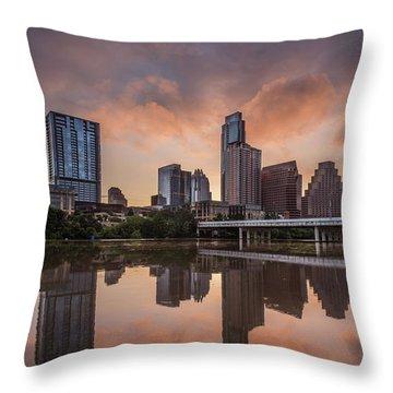 Austin Skyline Sunrise Reflection Throw Pillow