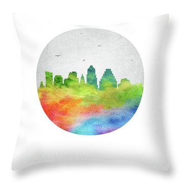 Austin Skyline Ustxau20 Throw Pillow by Aged Pixel