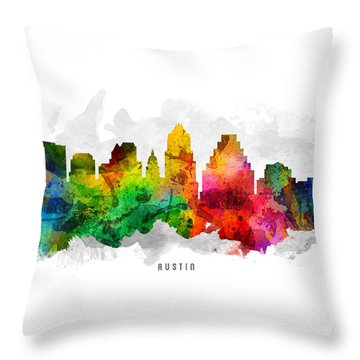 Austin Texas Cityscape 12 Throw Pillow by Aged Pixel