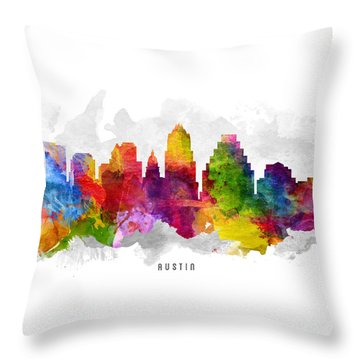 Austin Texas Cityscape 13 Throw Pillow by Aged Pixel