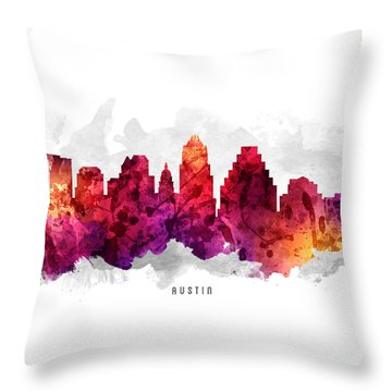 Austin Texas Cityscape 14 Throw Pillow by Aged Pixel