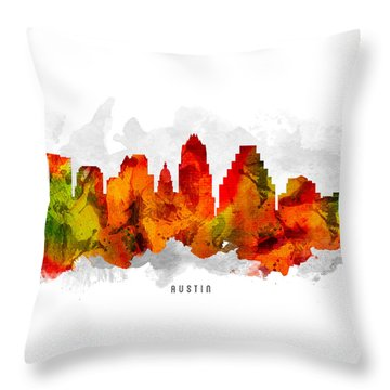 Austin Texas Cityscape 15 Throw Pillow by Aged Pixel
