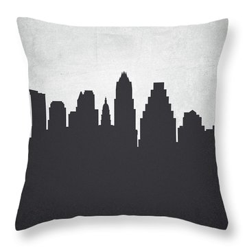 Austin Texas Cityscape 19 Throw Pillow by Aged Pixel