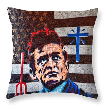 Austin Texas Johnny Cash Mural Throw Pillow by Linda Phelps