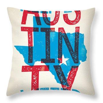 Austin Poster - Texas - Keep Austin Weird Throw Pillow