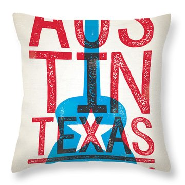 Austin Poster - Texas - Live Music Throw Pillow