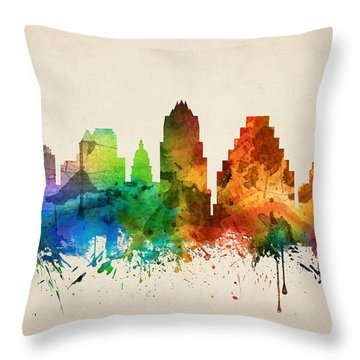 Austin Texas Skyline 05 Throw Pillow by Aged Pixel