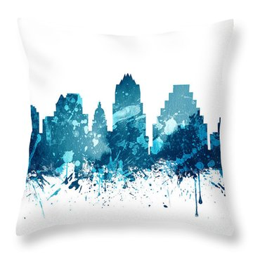 Austin Texas Skyline 19 Throw Pillow by Aged Pixel