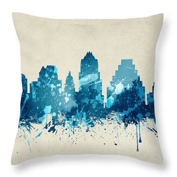 Austin Texas Skyline 20 Throw Pillow by Aged Pixel