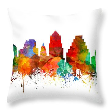 Austin Texas Skyline 21 Throw Pillow by Aged Pixel